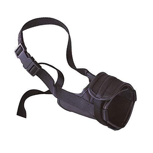 Ferplast Bozal para Perros Safe Mini Antimordida, Nailon Robusto, Parte Anterior Abierta, Suave Acolchado, Ajuste Mediante Velcro, A: de 20 a 40 cm - B: de 10 a 15 cm - C: 8,5 cm Negro 🔥