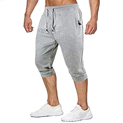 Amazon - 60% Off on Men's Jogger Capri Pants 3/4 Casual Cotton Running Shorts Workout Gym