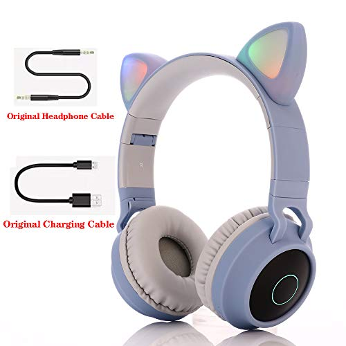 Bluetooth over-ear koptelefoon, over-ear koptelefoon Opvouwbare headset Actieve ruisonderdrukking Cat ear-koptelefoon Premium oplaadbaar HD-geluid voor school/pc/mobiel -,Gray blue