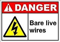 警告サイン裸のワイヤー危険道路標識ビジネス標識8 x 12インチアルミニウム金属ブリキサイン