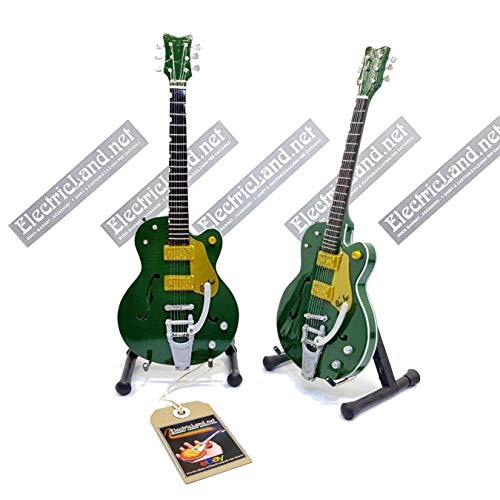 Mini Guitar Brian Setzer Gretsch Green Irish Falcon Model + Caja de Miniaturas a escala 1:4 Guitarra en miniatura con funda de colección music gadget rock