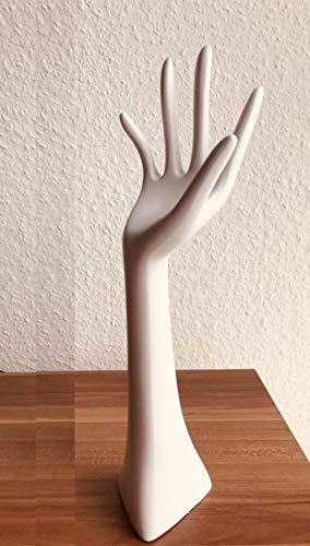 Schmuckhalter im weißen Handformat für Armbänder, Ketten, Ringe, Uhren und Co