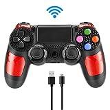 Aceshop Wireless Controller f¨¹r PS4, Wireless Bluetooth Controller f¨¹r Playstation 4 Dual Vibration Shock Gamepad Joystick f¨¹r PS4 mit Touchpad und Audio-Buchse (Schwarz Rot)