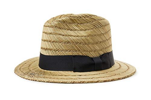 Brixton Sombrero Fedora Rollins de Paja Natural-Negro - M - 58cm
