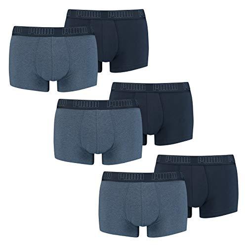 PUMA Herren Basic Trunk Boxershort 6er Pack Denim (007) Größe:S