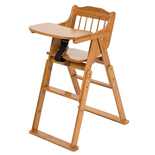 ELENKER Bamboo High Chair for Baby Toddler, Foldable Wooden Highchair, 3 Gear Adjustable Height, Easy Clean
