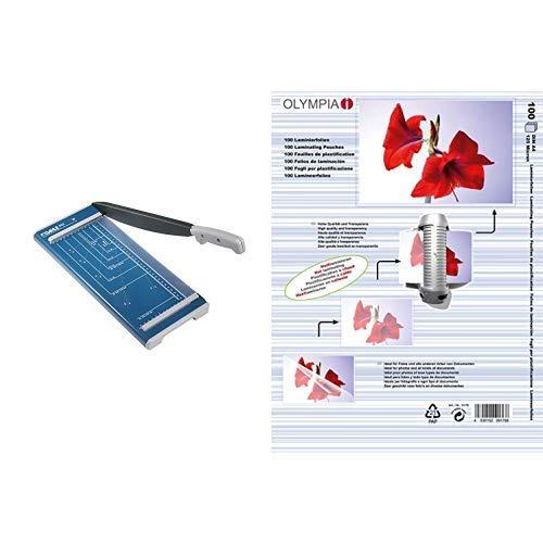 Dahle 502 Hebelschneider (Papierschneidemaschine mit einer Schnittlänge von 320 mm, bis zu DIN A4) & Olympia 9176 Laminierfolien, 125 Mic, DIN A4, 100 Stück