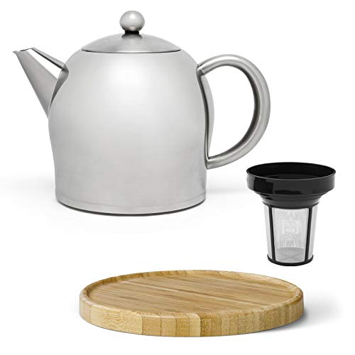 Bredemeijer kleine Matte doppelwandige Edelstahl Teekanne 1.0 Liter & brauner Untersetzer aus Holz & Teefilter