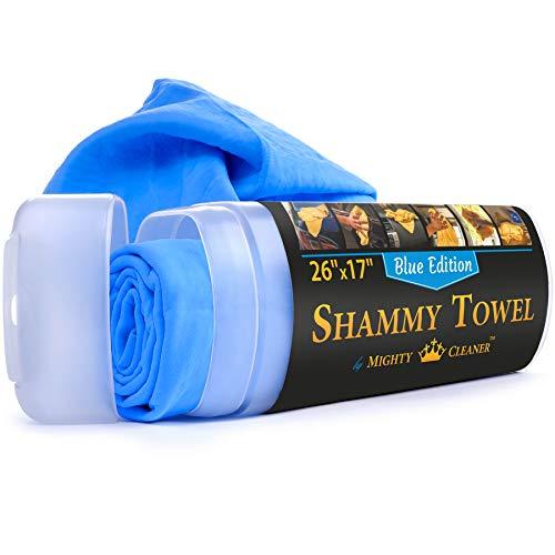 """Premium Chamois Cloth for Car - 26""""x17""""- Blue Car Shammy Towel + Storage Case - Super Absorbent - Scratch-Free Shammy Cloth for Car"""