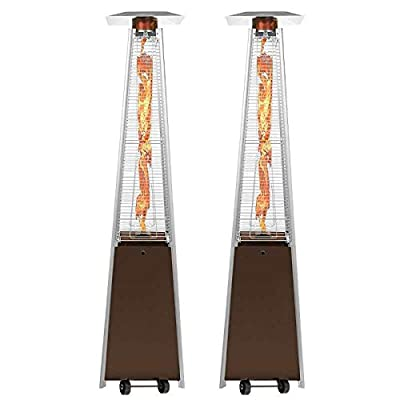 2 Sets Pyramid Patio Heater Steel, 40,000 BTU Commercial Tower Outdoor Heaters for Patio Propane Standing