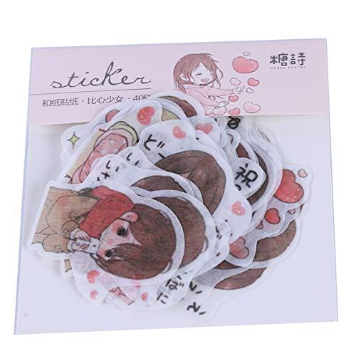 Beiswin 40 Teile/Satz Papier Aufkleber Nette Japanische Cartoon Serie Dekorative Gemischte Vergoldung Aufkleber Klebstoff für Kinder Geschenk (2#)