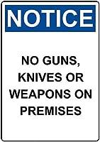 警告サイン-銃がないことに注意してください。 通行の危険性屋外防水および防錆金属錫サイン