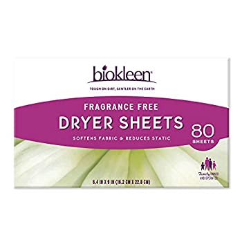 Biokleen Laundry Dryer Sheets Fabric Softener Eco-Friendly Non-Toxic Plant-Based No Artificial Fragrance Colors or Preservatives Fragrance Free 80 Sheets