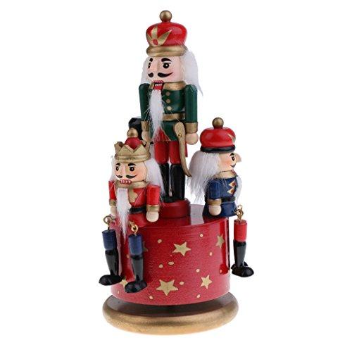 Homyl Weihnachten Nutcracker Soldaten Figuren Spieluhr Spieldose mit Uhrwerk Rote Basis