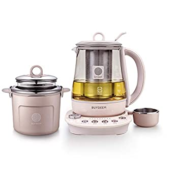 Buydeem K2693 Health Pot Health-Care Beverage Electric Kettle with Thickened Glass 9-in-1 Fully Automatic Programmable Brew Cooker 1.5 L Pink
