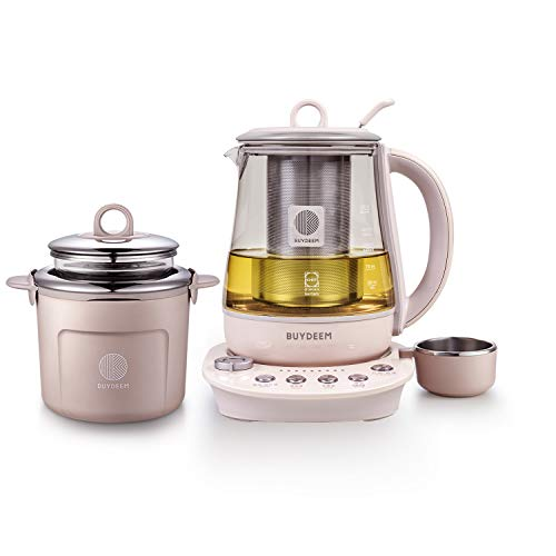 Buydeem K2693 Health Pot, Health-Care Beverage Electric Kettle with Thickened Glass, 9-in-1 Fully Automatic Programmable Brew Cooker, 1.5 L, Pink