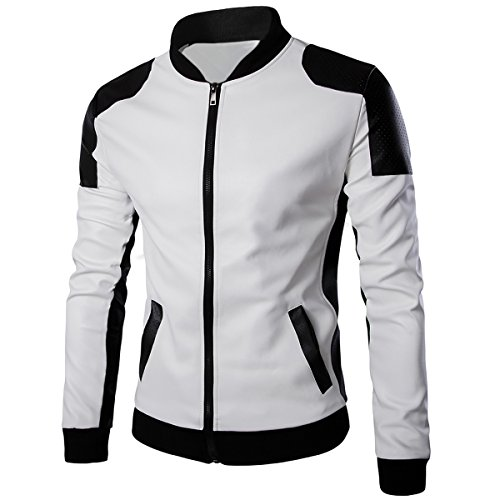 Cloud Style Cloudstyle Men's Latticed Baseball Bomber Jacket Slim Fit Coat White Black,White 1,Medium