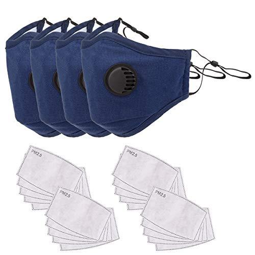4 Schwarz,10Filter-Baumwoll-Blatt Mundschutz Baumwolle Staubschutz mit Aktivkohle Anti-Staub Gesichtsmaske Wiederverwendbar Anti-Beschlag Atmenschutz f/ür Radfahren