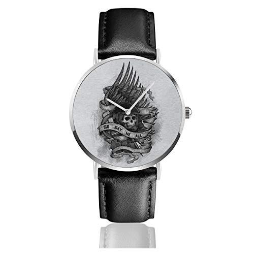 Unisex Business Casual Admiral Adama Battlestar Galactica So Say We All Watches Quarz Leder Armbanduhr mit schwarzem Lederband für Männer und Frauen Young Collection Geschenk