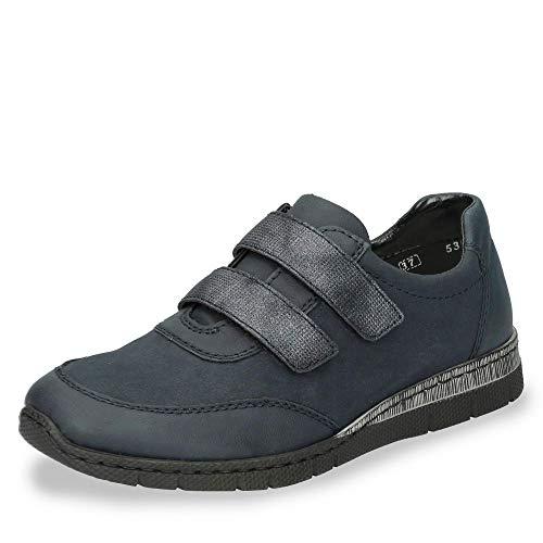 Rieker N5354 Damen Sportiver Slipper aus Lederimitat herausnehmbare Innensohle, Groesse 37, dunkelblau