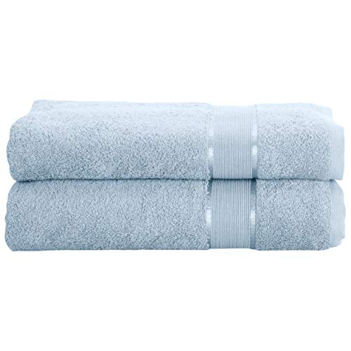 Mixibaby - Juego de 2 toallas de mano, toalla de ducha, toalla de baño, toalla de sauna, toalla de rizo de algodón, 500 g/m², azul claro, Handtuch 50x100cm