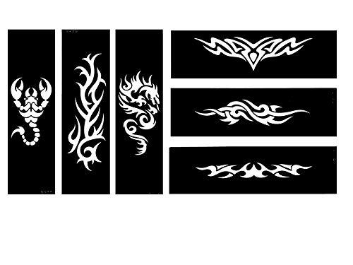 Lot de 6 pochoirs de tatouage tribal Dragon Scorpion