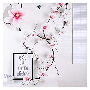 jiande 185cm Artificial Magnolia Silk Fake Flower Wall Hanging Orchid Flower Wall Tree Branches Rattan Flowers Vine Wedding Decoration