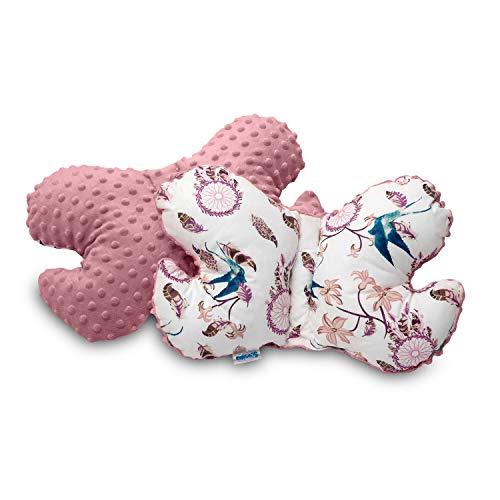 Callyna ® - Coussin bébé cale-tête oreiller ergonomique morphologique anti secousses pour poussette, siège auto, lit bébé. 100% Union Européenne. Rose Vieilli