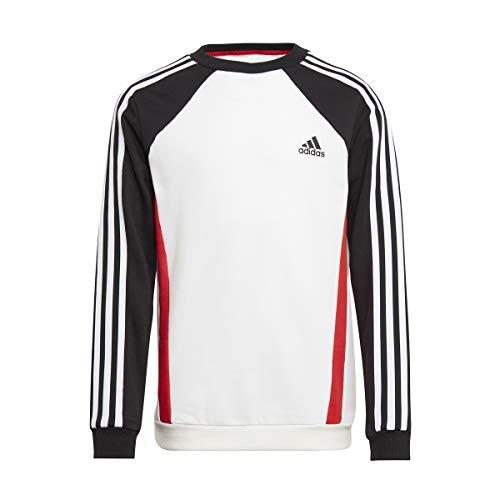 adidas GM6990 B Bold Crew Pullover Boys White/Black/Vivid Red/White 1112
