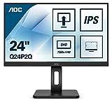 AOC Q24P2Q 60 cm (23,8 Zoll) Monitor (HDMI, DisplayPort, USB Hub, 4ms Reaktionszeit, 2560x1440, 75 Hz, Pivot) schwarz