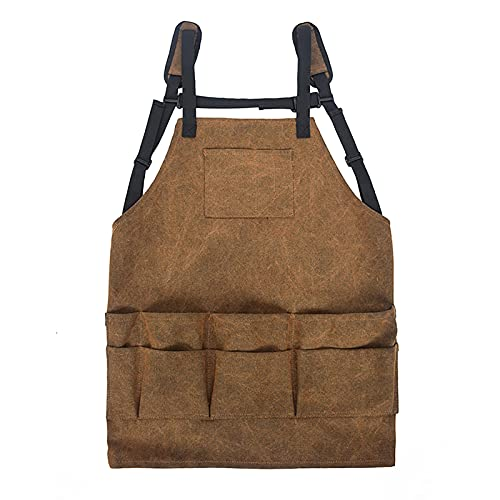 Qagazine Delantales de trabajo de lona para carpintería, con bolsillo y correas acolchadas,Hebilla de liberación rápida,Herramienta ajustable