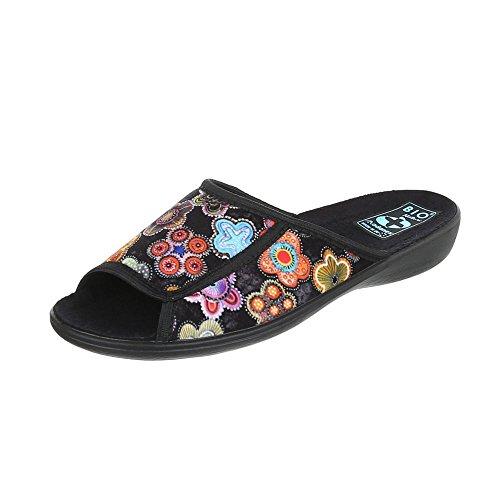 Ital-Design Hausschuhe Damen-Schuhe Pantoffeln Pantoffel Freizeitschuhe Schwarz Multi, Gr 37, 22337-