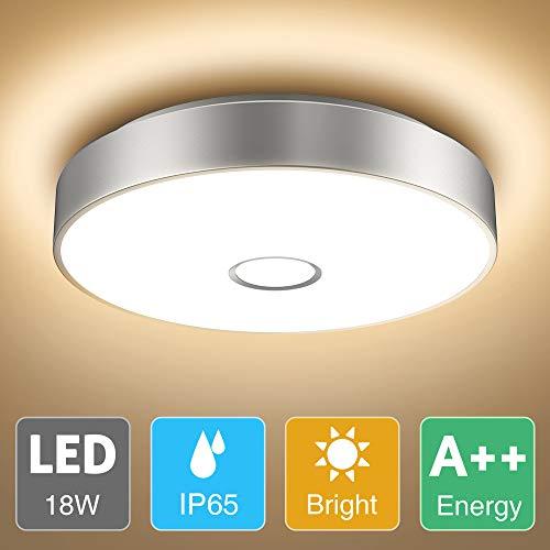 Onforu 18W LED Lámpara de Techo, IP65 Impermeable CRI 90+ LED Plafón 1600LM para Salón Cocina Dormitorio Baño Pasillo, Igual al 180W Luz Interior Techo Habitacion, 2700K Blanco Cálido Redonda Moderna