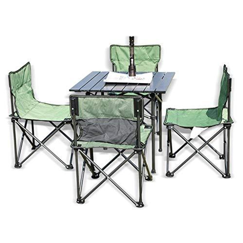 ZB1026 Camping Portable Pique-Nique Table et chaises Tabourets Ensemble, Outdoor Camp Table chaises avec 4 Loisirs Chaise Pliante