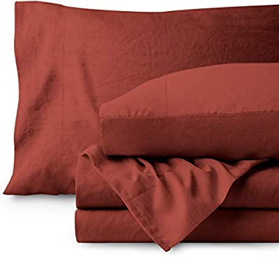 Bare Home Sandwashed Queen Sheet Set - Premium 1800 Ultra-Soft Microfiber Bed Sheets - Breathable Bedding - Hypoallergenic - Stain Resistant (Queen, Sandwashed Rosewood)
