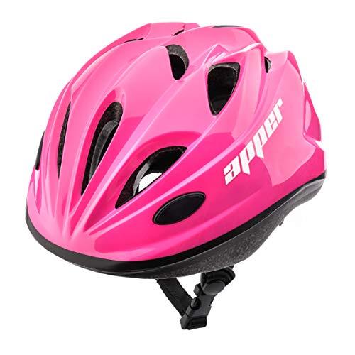 Meteor Casco Bici Ideale per Bambini e Adolescenti Caschi Perfetto per Downhill Enduro Ciclismo MTB Scooter Helmet Ideale per Tutte Le Forme di attività in Bicicletta Helmo (M (52-56 cm), KS07 Pink)