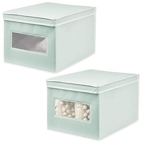 mDesign Juego de 2 Cajas de Tela Grandes – Práctico Organizador de armarios con Tapa para Dormitorio, salón o baño – Caja de almacenaje apilable de Fibra sintética Transpirable – Verde Menta y Blanco