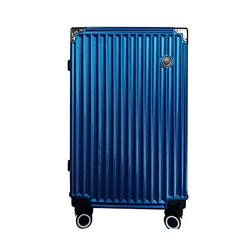 Ang-xj The new trolley case female universal wheel 24 inch aluminum frame travel business male student password lock trolley case is breathable,waterproof,wear-resistant,anti-theft (Color : Blue)