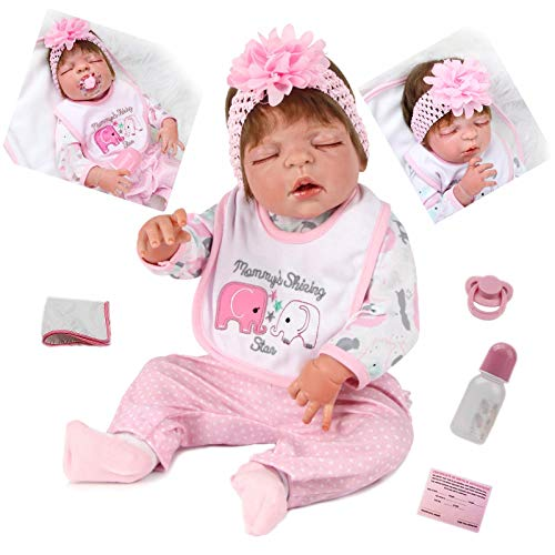 ZIYIUI 23 Pulgadas Reborn de muñecas Reborn realistas de Cuerpo Entero de Silicona muñecas Reborn de 57 cm sueño Femenino con los Ojos Cerrados recién Nacidos