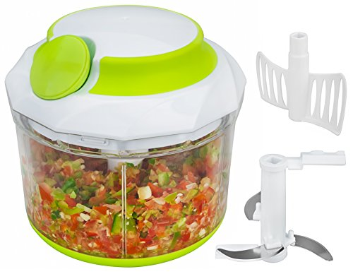 Brieftons Quickpull Food Chopper: Leistungsstarker handbetriebener Zerkleinerer/Mixer, 950ml, inklusive 3Rezept-eBooks
