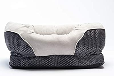 BarksBar Gray Orthopedic Dog Bed - Snuggly Sleeper - with Grooved Orthopedic Foam, Extra Comfy Cotton-Padded Rim Cushion and Nonslip Bottom
