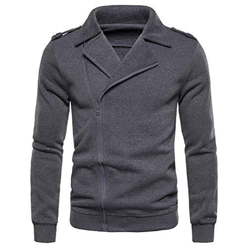 Long Sleeve Hoodies Jackets Sudadera Hombre Fashion Autumn Men Sweatshirts Coats Solid Zip Turn-Down Collar Streetwear Style 1 Gray XXL