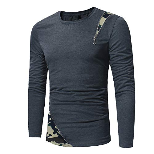 Mens T-Shirt Long Sleeve Spring Autumn New Tops Round Neck Casual Hipster T-Shirt Mens Camouflage Patchwork T-Shirt Zipper Fashion Design Shirt Tee Tops M
