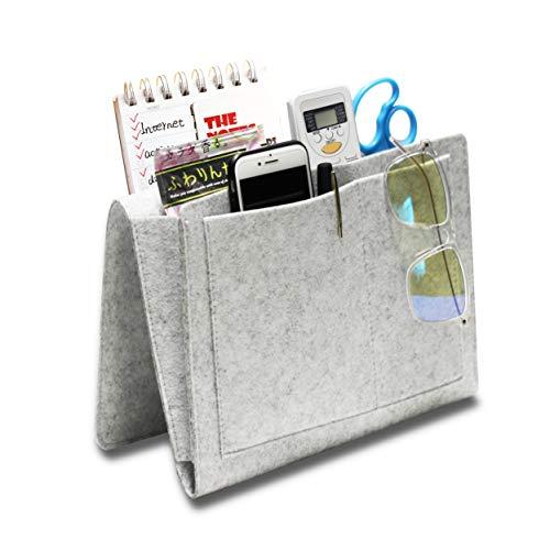 Hbsite Filz Nacht Aufbewahrungstasche mit Taschen, Insert Sofa Double Layer Hanging Organizer für DVD, Zeitschriften, Tablet, Fernbedienungen, etc(Gray)