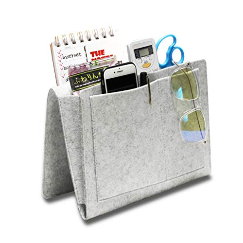 Hbsite Felt Bedside Storage Bag with Pockets, Insert Sofa Double Layer Hanging Organizer for DVD, Magazines, Tablet, Remotes, etc. (Gray)