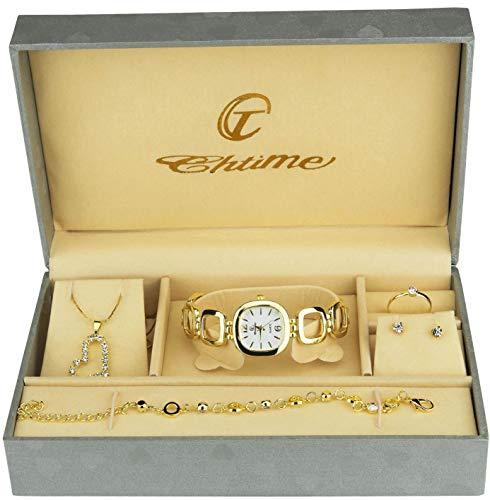 Caja de Regalo Reloj Mujer - Juegos de Joyas- Collar-Anillo- Pendientes - Pulsera