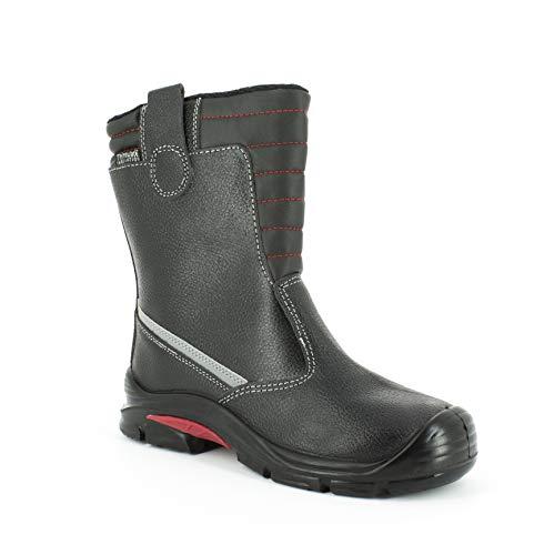 Foxter - Chaussures de sécurité Hommes Montantes Baskets de Travail Légères et Respirantes SafetyKey : Grand Confort Imperméable Cuir S3 SRC HRO,Noir,43 EU
