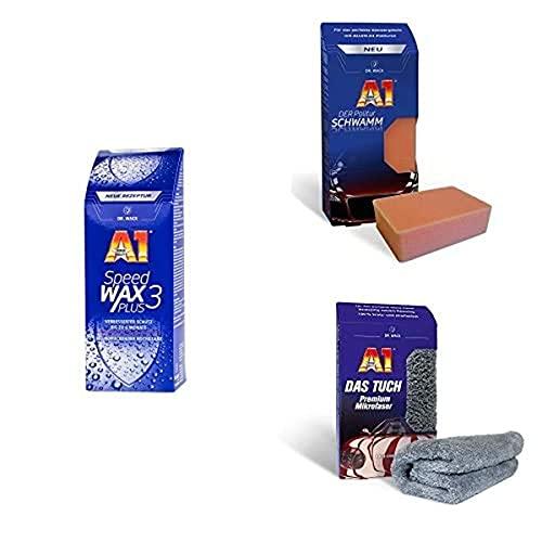 Dr. Wack - A1 Speed Wax Plus 3 - NEUE FORMEL 500 ml I Premium Auto-Wachs mit Carnauba& A1 DER Politur SCHWAMM I Langlebiger Polier-Schwamm & A1 DAS TUCH 40 x 40 cm I Premium Mikrofasertuch