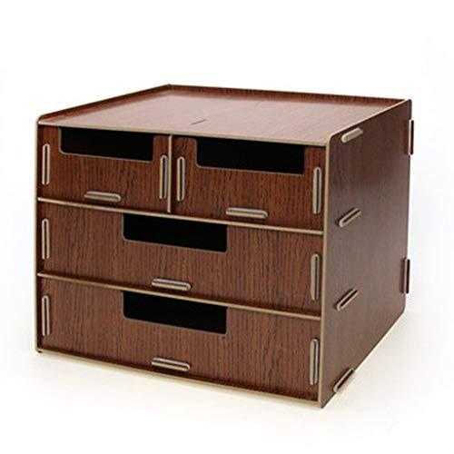 Revistero archivador Multifuncional de Escritorio de Madera Archivo Carta Caja del cajón de Almacenamiento Dispositivo Asamblea Diversión Organizador Caja Clasificadores Carpetas (Color : Brown)