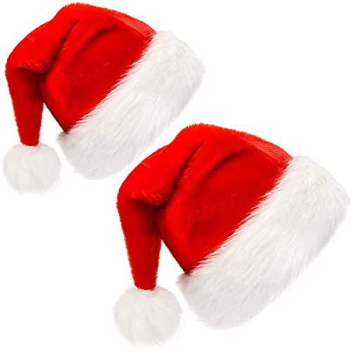 2Pcs Sombrero de Santa,Gorro Navideño,Gorros de Papá Noel para Niños Adultos Disfraces de Navidad Decoración (1 adulto + 1 niño)
